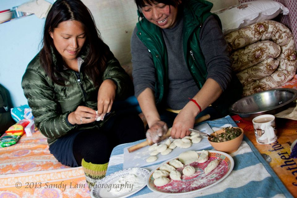 Making momos with one of my Tibetan students